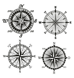 Rose of wind compass retor icons vector