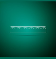 Ruler icon on green background straightedge sign vector