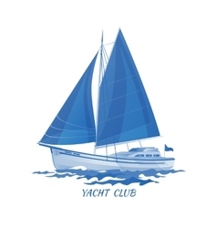 Sailing boat icon blue vector