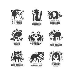 save wild animal logo design set protection of vector image