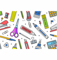 School supplies pattern vector
