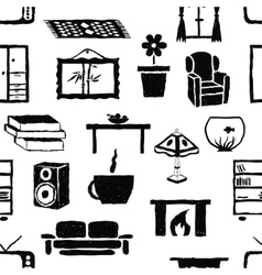 seamless doodle living room pattern vector image