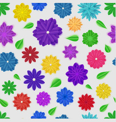seamless pattern paper flowers vector image