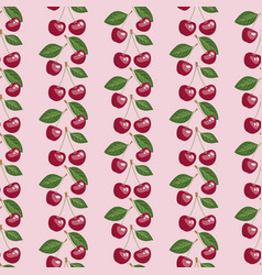 seamless pattern with beauty cherries and leaves vector image