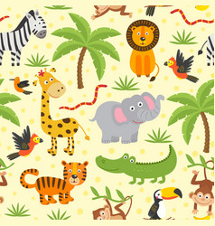 Seamless pattern with funny jungle animals vector