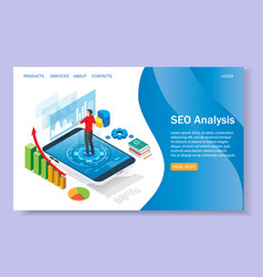 Seo analysis website landing page design vector