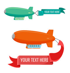 Set blimps with advertising banners vector