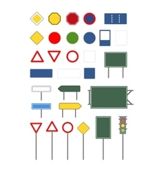 set empty blank different road signs on white vector image