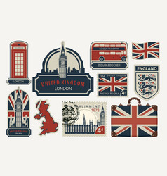 set of drawings on the theme of great britain vector image