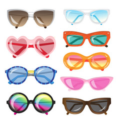 set of fashionable sunglasses of different shapes vector image