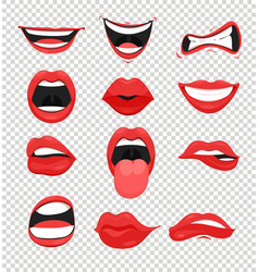 Set of red woman lips mouth vector