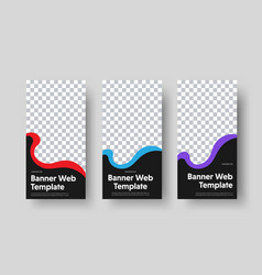 Set vertical black web banners templates with vector