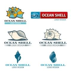 Shell design logo set vector image