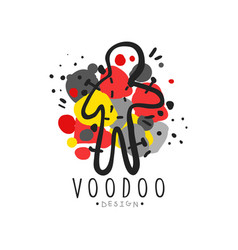 Silhouette of voodoo doll with needles for vector