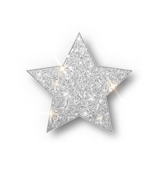 Silver glitter star isolated silver vector