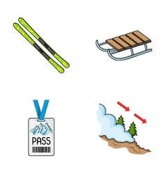 ski sled lifeguard badge badge avalanche ski vector image