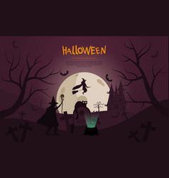 spooky halloween design with flying witch vector image