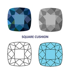 Square cushion gem vector