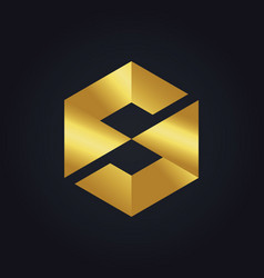 Square letter s cube gold technology logo vector