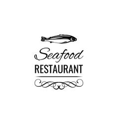 Tuna Vintage seafood logo restaurant label vector