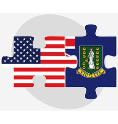 Usa and british virgin islands flags in puzzle vector