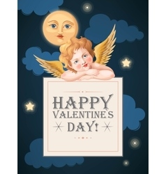 Valentines day card with cupid and moon vector image