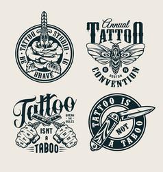vintage tattoo studio logos vector image