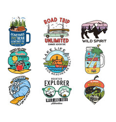 vintage travel logos vacation patches set hand vector image