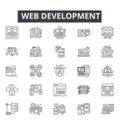 web development line icons signs set vector image