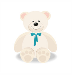 white toy teddy bear isolated on white vector image