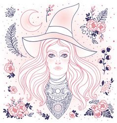 wiccan witch in black vector image