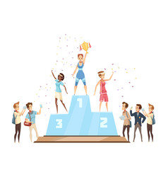 winners on podium composition vector image