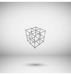 Wire frame Polygonal Element Cube with Lines and vector image