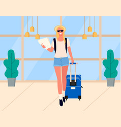 woman arrival traveler in airport tourist vector image