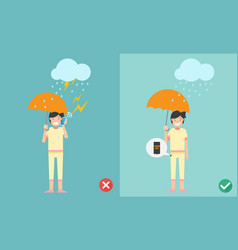 wrong and right ways do not phone call vector image