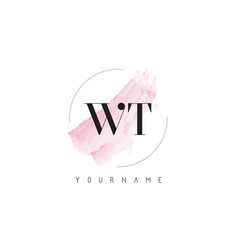 Wt w t watercolor letter logo design vector