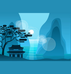 asian temple in mountains in night on background vector image