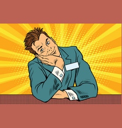 Businessman manager concierge sits and dreams vector