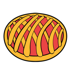 cherry pie icon cartoon vector image vector image