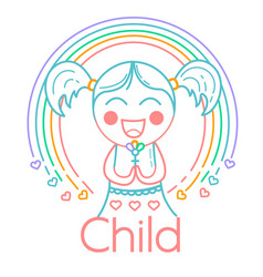 concept of childrens creativity girl vector image vector image