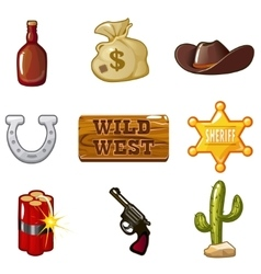 Icons for Wild West computer game vector image