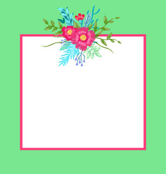 poster with flowers and leaves vector image vector image