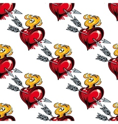 Seamless pattern of valentine hearts and arrows vector image