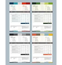 Set of Invoice Design Templates 4 Color Themes vector image