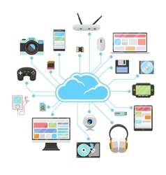 Cloud server and sync of electronic devices vector image vector image
