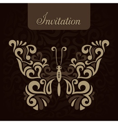 Invitation with stylized butterfly vector image vector image