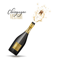 realistic champagne explosion vector image vector image