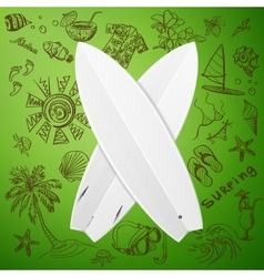 surfboard and hand draw surf icon vector image