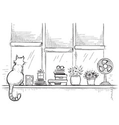 Windowsill with home love objects and cute catHand vector image vector image