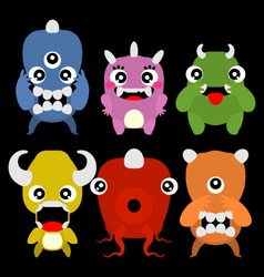 A set of cute cartoon monsters vector image vector image